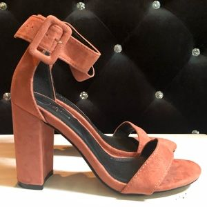 Mauve Suede Trinity Heeled Ankle Strap Sandal